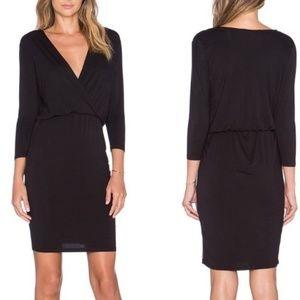Lovers + Friends Black Surplice Jersey Dress